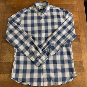 J. Crew Men's Long Sleeve Blue Checkered Shirt L